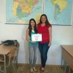 Ива Георгиева от 10ж клас, класирана за 3 кръг Олимпиада по Испански език, преподавател Марина Георгиева