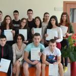 Ученици от 11а клас с международни езикови сертификати Pearson, ниво 3 Upper-Intermediate и ниво 4-Advanced, преподавател Гергана Данова