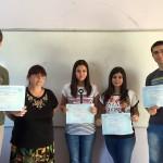 Ученици от 11.е клас, носители  на Сертификат по френски език DELF B1 с ръководител Ели Йорданова - старши учител по френски език