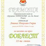 """Приз ДОБЛЕСТ III-та степен за Атанас Гюров от 9.а клас от сдружение """"Артилерия - ген. Вл. Вазов"""""""