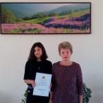 Диана Довгун от Xг клас - Национален кръг на олимпиадата по руски език с преподавател Емилия Русанова