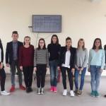 Ученици от Хе клас, притежатели на  сертификат по френски език DELF 2017 с ръководител  Калина Пиркова, старши учител по френски език